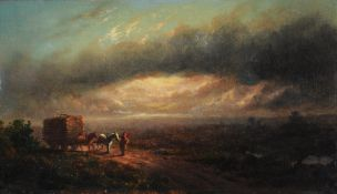 Attributed to George Cole (British 1810-1885), 'The last load'