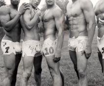 Bruce Weber (American 1946-) two photographs including 'Albert's Underwear Design for football'