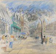 λ Kenneth Browne (1917-2009), 'London Street Scene, Brompton Road'