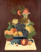 A decorative still life of fruit and flowers