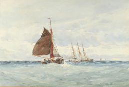 W Wilson (late 19th century) 'Marine view with fishing boat and frigate'