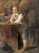 British School (18th century) 'Boy standing with a spinning top and a wooden toy horse and cart'