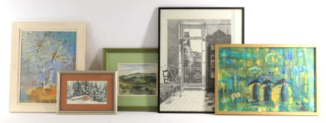 Five decorative pictures to include a watercolour of Jerusalem