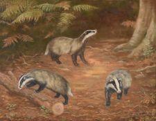 λ Madeline Selfe (British 1905-2005), 'Three badgers in a wood clearing'