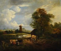 Follower of George Vincent, 'Cart on a track by a windmill'
