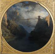 Edmund John Niemann (British 1813-1876), 'Clifton Suspension Bridge and the Avon Gorge at night'