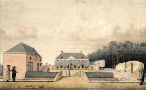 Anglo-American School (circa. 1800) 'House under renovation'