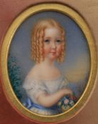 Y Mrs James Fairfield (mid-19th century)- a portrait miniature on ivory of a young child