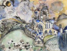 λ Lydia Corbett (French b.1934), 'Lovers in the sky, over the church and sheep'