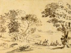 Attrib William Henry Barnard (1767-1818) 'Landscape with figures and horse'