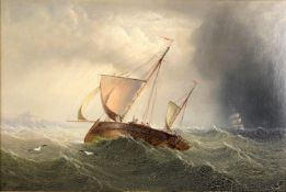 Follower of Henry Redmore 'Boat in stormy sea with frigate in the distance'