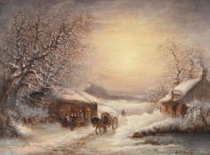 Continental School (Circa 1870), 'Horse and cart in a snowy landscape'