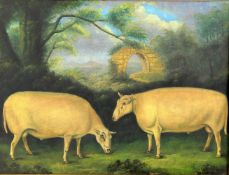 Naïve School (20th century) 'Study of two rams with ruins beyond'