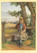 Circle of John Absolom (British 1815-1895), 'Girl seated on a stile with a basket'