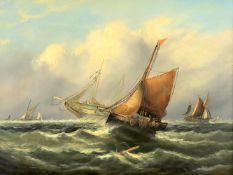 J. Ray (British c. 1900), 'Boats in choppy seas', a pair