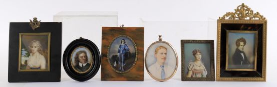 Y Assorted portrait miniatures to include a 19th century study of Oliver Cromwell after Sir Peter Le