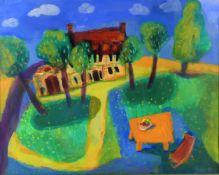 λ Fiona Haser (b. 1961) 'A house in summer'