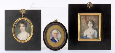 Y Three 19th century portrait miniatures on ivory including small study of a man