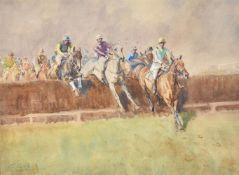 λ Peter Biegel (British 1913-1988), 'The First Fence, The National Hunt, Cheltenham 1949'