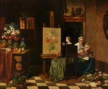 Jos van Bree (Dutch 1784-1859), 'An artist in her studio'