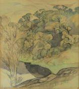 λ Sir Daniel Lascelles G.M.C. (1902-1965) 'A wooded river landscape'