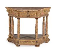 A SPANISH GILTWOOD AND POLYCHROME PAINTED SIDE OR ALTAR TABLE, LATE 17TH/EARLY 18TH CENTURY