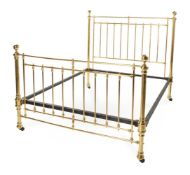 A VICTORIAN BRASS FRAMED DOUBLE BED, LATE 19TH CENTURY