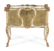 A CREAM PAINTED, PARCEL GILT AND CANED JARDINIERE, LATE 19TH/EARLY 20TH CENTURY