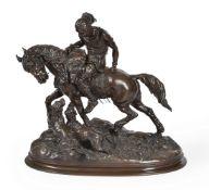 AFTER ARTHUR-MARIE GABRIEL COMTE DU PASSAGE (1838-1909), A BRONZE GROUP 'THE HUNTSMAN RETURNS'