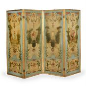 A FRENCH PAINTED AND PARCEL GILT FOUR-FOLD ROOM SCREEN, IN THE MANNER OF JEAN-ANTOINE WATTEAU