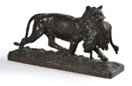 AFTER CHRISTOPHE FRATIN (FRENCH, 1801-1864), A BRONZE HUNTING GROUP 'LIONESS WITH OSTRICH'