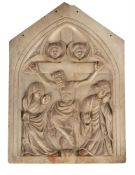 AN ITALIAN CARVED MARBLE PANEL, IN THE 14TH CENTURY GOTHIC STYLE