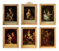 A GROUP OF TWELVE REVERSE GLASS MEZZOTINTS, 18TH AND 19TH CENTURY