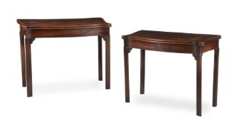 A PAIR OF GEORGE III MAHOGANY AND CROSSBANDED SERPENTINE FOLDING CARD TABLES, CIRCA 1780