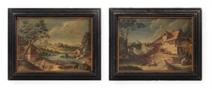 NORTH EUROPEAN SCHOOL, A PAIR OF CAPRICCIO LANDSCAPES, FIGURES TO THE FOREGROUNDS