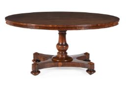 Y A WILLIAM IV ROSEWOOD OVAL CENTRE TABLE, CIRCA 1835