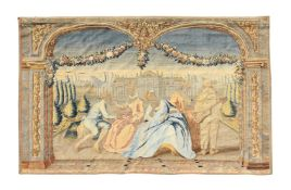 A FRENCH PASTORAL TAPESTRY, MID 18TH CENTURY