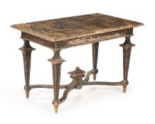 AN ITALIAN PARCEL GILT AND POLYCHROME PAINTED SIDE TABLE, 18TH CENTURY