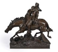 SIR JOSEPH EDGAR BOEHM RA (1834-1890), A BRONZE FIGURAL GROUP 'YOUNG LOVERS ON HORSEBACK'