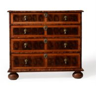 A WILLIAM & MARY OLIVEWOOD OYSTER VENEERED AND FRUITWOOD CROSS BANDED CHEST OF DRAWERS, CIRCA 1690