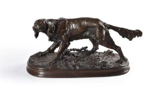AFTER PIERRE-JULES MÊNE (FRENCH, 1810-1879), A BRONZE FIGURE OF A SETTER WITH THISTLES