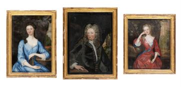 A SET OF THREE ANGLO-IRISH PORTRAITS OF THE FALKINER FAMILY REVERSE PAINTED ON GLASS