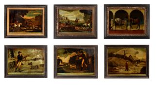 A GROUP OF ELEVEN REVERSE GLASS MEZZOTINTS, 18TH AND 19TH CENTURY
