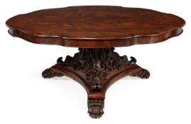 Y AN EARLY VICTORIAN ROSEWOOD CENTRE TABLE, CIRCA 1850