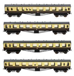 A rake of four 5 inch gauge Western Region British Railways Mk1 coaches