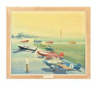 An acrylics on canvas paining depicting range of model aeroplanes on a runway at aerodrome and featu