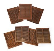 A collection of seven ships louvres doors. Removed from 'MV Mastura' at Blyth in 1978.