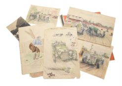 Peter and Francis E Lord- a early/mid-20th century folder of watercolours