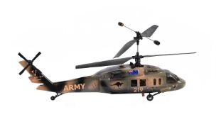 A radio controlled model of a small helicopter