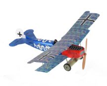 A model of a radio controlled German Biplane with motor